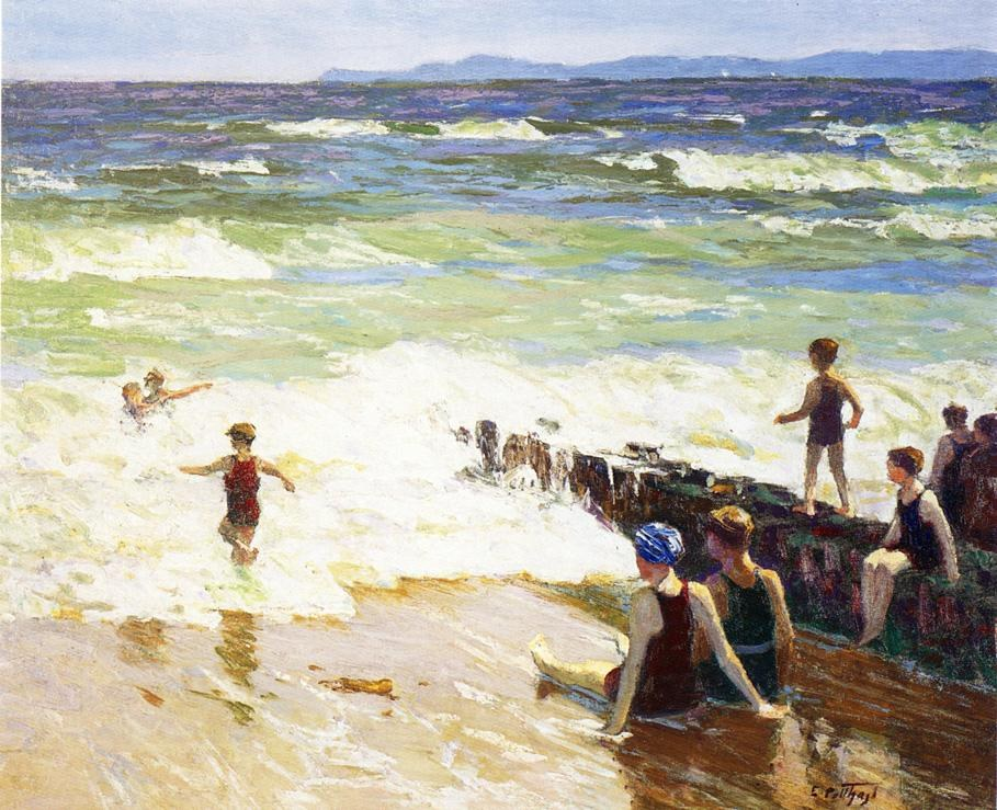 Edward Henry Potthast Bathers by the Shore