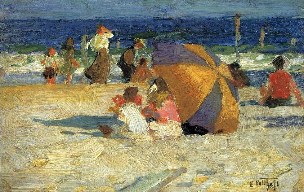 Edward henry potthast beach umbrella painting best for Prints of famous paintings for sale