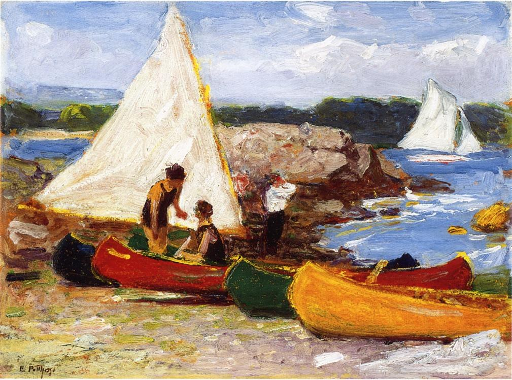 Edward Henry Potthast Canoes and Sailboats