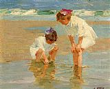 Edward Henry Potthast Girls Playing in Surf painting