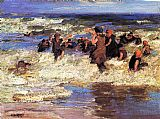Edward Henry Potthast Surf Bathing painting