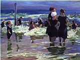 Edward Henry Potthast The Gossips painting
