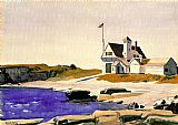 Edward Hopper Coast Guard Station, Two Lights, Maine painting