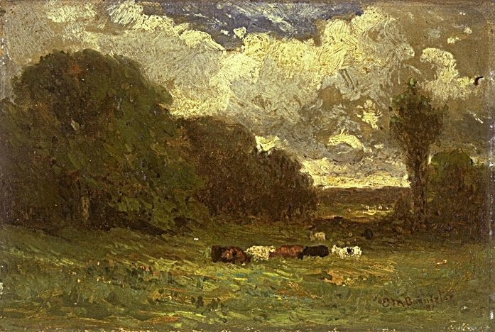 Edward Mitchell Bannister landscape with cows and trees