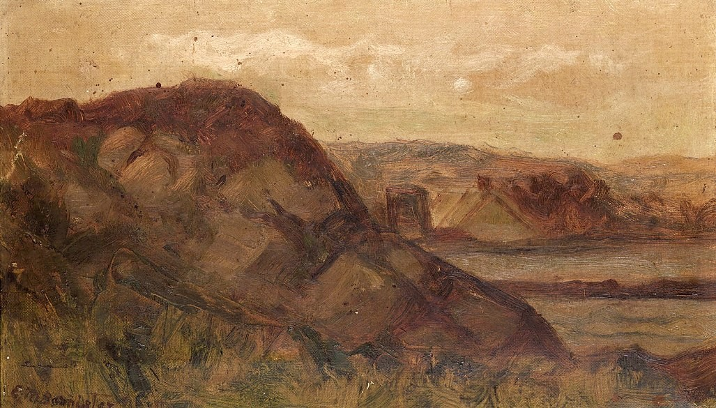 Edward mitchell bannister landscape with rocks painting for Big garden rocks for sale