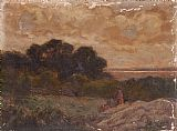 Edward Mitchell Bannister Landscape with Two Women Reclining on Rocks painting