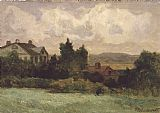 Edward Mitchell Bannister houses and trees painting