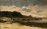 Edward Mitchell Bannister landscape with pier painting