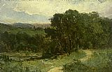 Edward Mitchell Bannister landscape with road near stream and trees painting