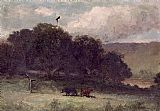 Edward Mitchell Bannister landscape with trees and two cows in meadow painting