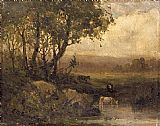 Edward Mitchell Bannister landscape, riverbank, three cows painting