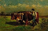 Edward Mitchell Bannister man with two oxen painting