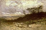 Edward Mitchell Bannister shepherd with sheep painting