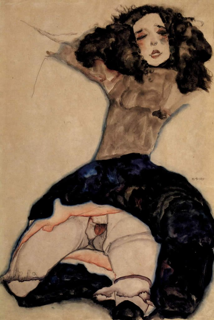 Egon Schiele Black haired girl with high skirt