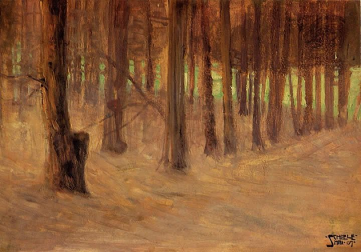 Egon Schiele Forest with Sunlit Clearing in the Background