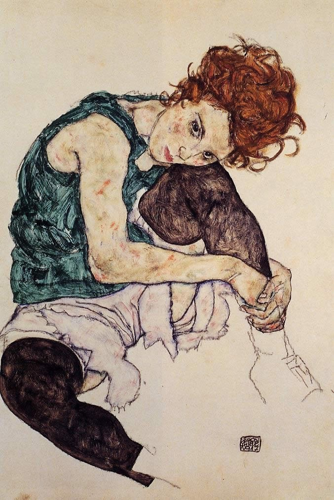 Egon Schiele Seated Woman with Bent Knee