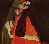 Egon Schiele Cardinal and Nun painting