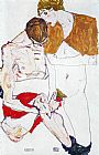 Egon Schiele Courting couple  painting