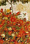 Egon Schiele Field of Flowers painting