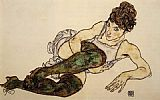 Egon Schiele Reclining Woman with Green Stockings Adele Harms painting