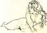 Egon Schiele Reclining woman  painting