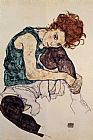 Egon Schiele Seated Woman with Bent Knee painting