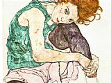 Egon Schiele Sitting Woman with Legs Drawn Up painting