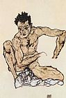 Egon Schiele Squatting male act selfportrait painting