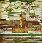 Egon Schiele Stein on the Danube with Terraced Vineyards painting