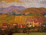 Egon Schiele Village with Mountains painting