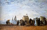 Eugene Boudin The Beach At Trouville painting