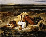 Eugene Delacroix A Mortally Wounded Brigand Quenches his Thirst painting