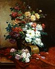 Eugene Henri Cauchois Roses and Dahlias painting