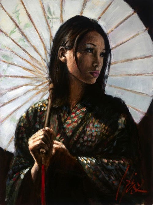 Fabian Perez michiko with white umbrella