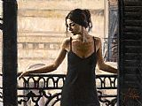 Fabian Perez Luciana at theBalcony painting