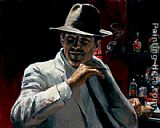 Fabian Perez Man at red bar painting
