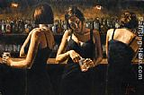 Fabian Perez Study for Three Girls at the Bar painting