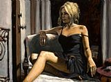 Fabian Perez THE RED HAT painting