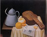 Fernando Botero Still Life with Le Journal painting