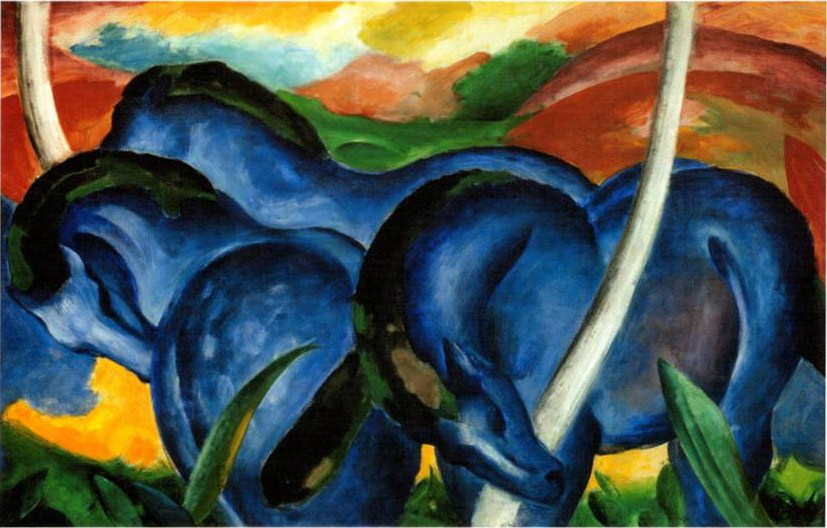 Franz marc the large blue horses painting best paintings for Large artwork for sale