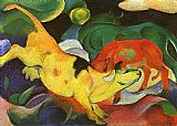 Franz Marc Cows Yellow Red Green painting