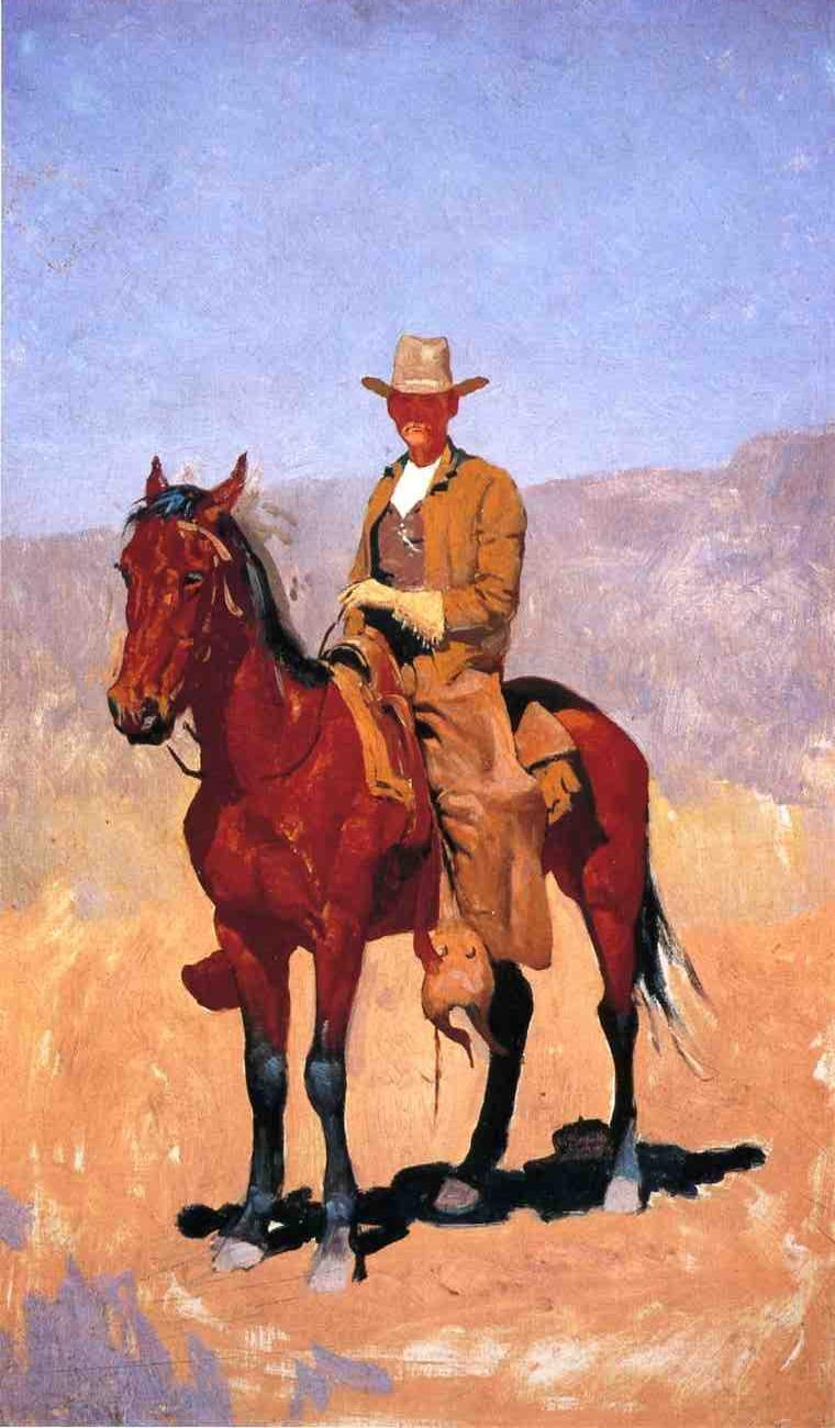 Frederic Remington Mounted Cowboy In Chaps With Race Horse