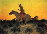 Knight paintings - Against the Sunset by Frederic Remington