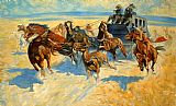Hunting paintings - Downing the Night Leader by Frederic Remington
