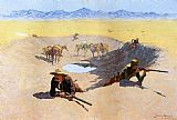 Hunting paintings - Fight for the Water Hole by Frederic Remington