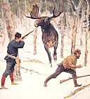 Hunting paintings - The Moose Hunt by Frederic Remington