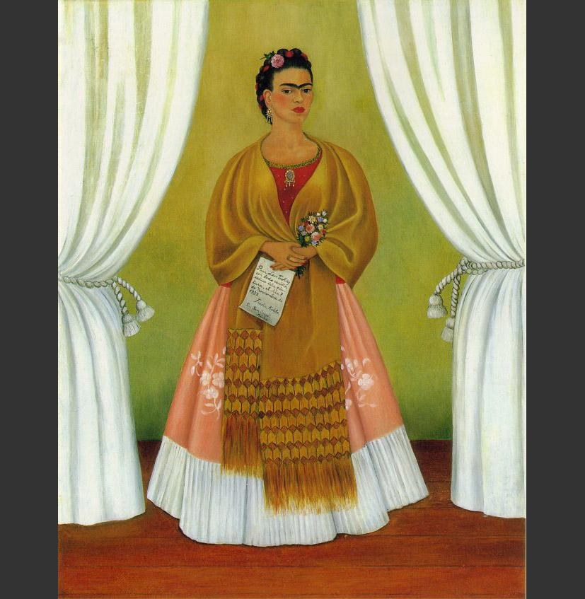 Frida Kahlo Self Portrait Dedicated to Leon Trotsky Between the Curtains