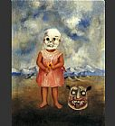 Frida Kahlo Girl with Death Mask painting