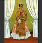 Frida Kahlo Self Portrait Dedicated to Leon Trotsky Between the Curtains painting