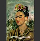 Frida Kahlo Self Portrait with Thorn Necklace painting